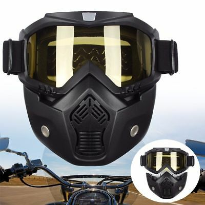 Modular Motorcycle Riding Helmet Open Face Mask Shield Goggles Detachable Yellow