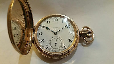 Rolex Solid Gold Full Hunter Pocket Watch Gifted by Webb & Grey Architects 1932