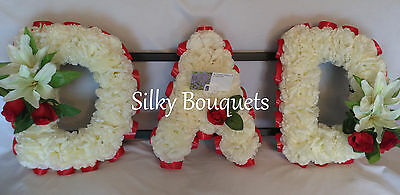 Artificial Silk Funeral Flower Wreath Dad Any 3 Letter Floral Tribute Memorial