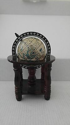 Vintage 1957 Small Wooden Case Decorative Globe