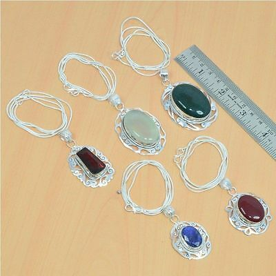 Wholesale 5Pc 925 Silver Plated Garnet & Mix Stone Filigree Pendant & Chain Lot