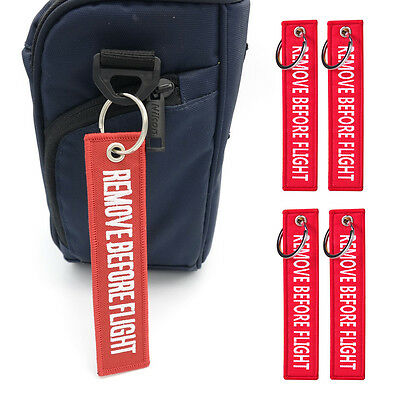 New 5pcs Red REMOVE BEFORE FLIGHT Embroidered Luggage Tag Label Key Chain Ring