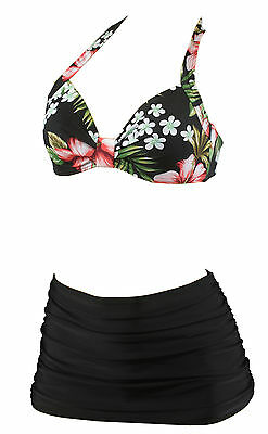 Vintage Damen triangel Bikini Swimsuit retro floral flower hibiskus Tiki pin up