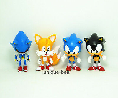 "Lot 4 pcs Shadow Sonic the Hedgehog Tails PVC Action figures Toy 7.5cm 3"" Gift"