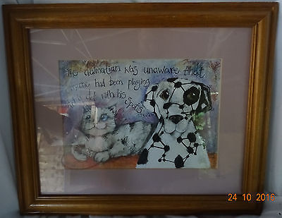 Cartoon Cat and Dalmatian join the dots framed print, picture