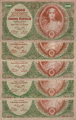 Austria : 5 Very scarce 50 000 Kronen 1922 no star before the serial number.