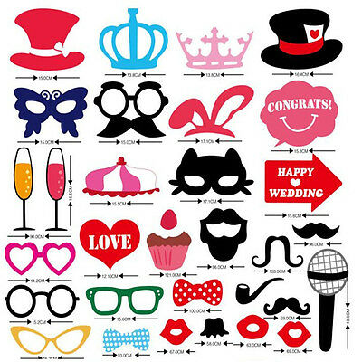 76pcs Photo Booth Props Engagement Wedding Birthday Party Photo Booth Props