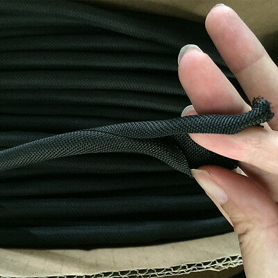 5mm-25mm Sleeving, Black Self Closing Cable Sock Wrap Braided Cabling, Full Size