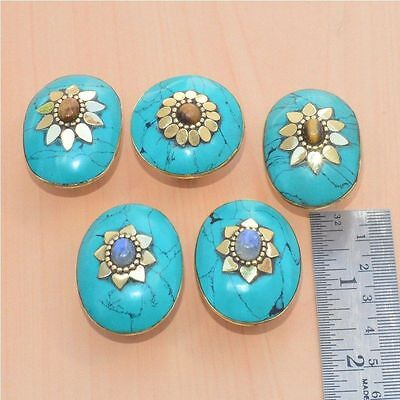 5Pc Wholesale 925 Tibetan Silver Turquoise & Mix Stone Adjustable Big Ring Lot