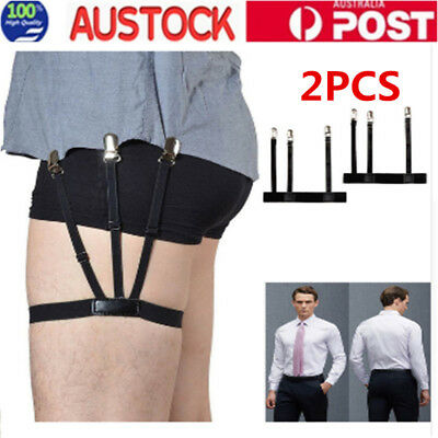 1 Pair Men's Shirt Stays Holders Elastic Garter with Non-slip Locking Clamps OZ
