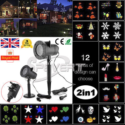Outdoor Landscape 12 Image Moving LED Laser Projector Light Brithday Party Lamp