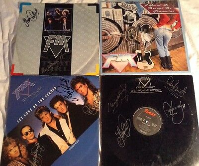 """FM Lot Of 4 Signed 12"""" Singles, (1 PROMO), Autographed By The Band"""