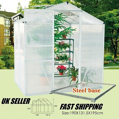 6*4ft/ 6ft/ 8ft Aluminium Plant GrowHouse Polycarbon Greenhouse New Clear Base