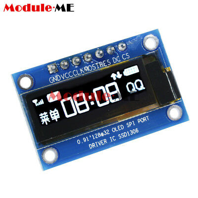 "0.91"" inch SPI 128x32 White OLED LCD Display Module SSD1306 For Arduino STM32 MO"