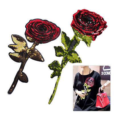 Embroidered Sequins Rose Flower Leaf Patch Sew on Applique Badge Cloth Decorate