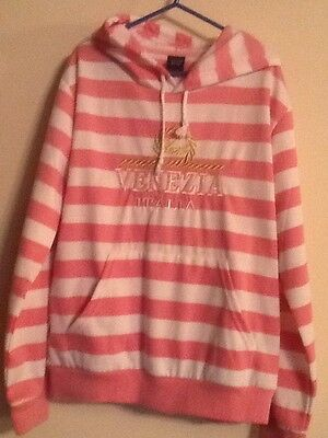 Pink & White striped hooded top