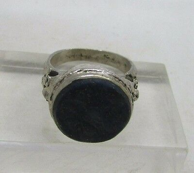 Antique Islamic silver ring with lapis lazuli and calligraphy(Z5)