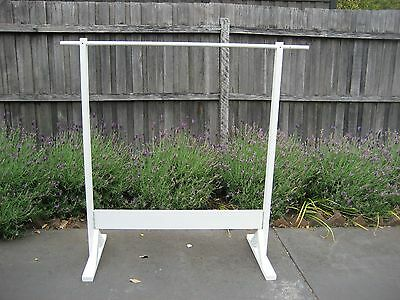 White wooden clothing racks- ideal for market/shop displays