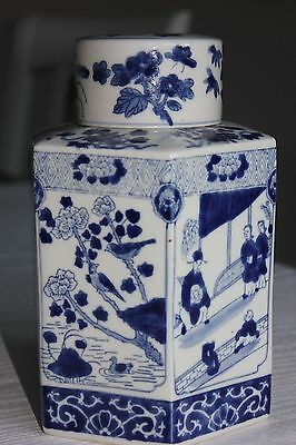 Chinese Blue White Porcelain Tea Caddy Hand Decorated