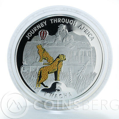 Malawi 5 kwacha Leopards Journey Through Africa silver proof coin 2006
