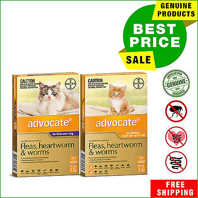 Advocate for Cats 3 Pipettes All Sizes Flea Heartworm and Worm treatment
