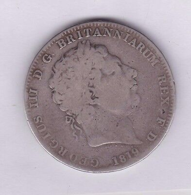 1819 Lix George Iii Silver Crown In A Used Fair To Fine Condition