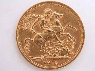 1875 Gold Sovereign Victoria Young Head St George Melbourne Mint X76