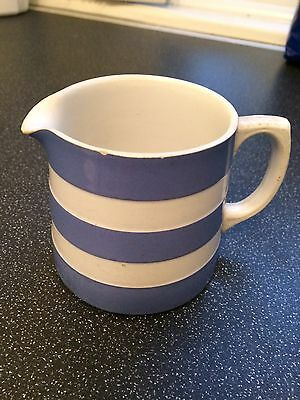 Cornish Ware Jug T G Green, Blue and White Stripes. Made in England.