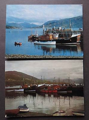 ULLAPOOL c1970s Loch Broom & Fishing Boats Lot of 2 Postcards