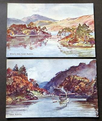 TROSSACHS c1910 Loch Katrine 2 Postcards WR&S Beaux Arts Artist Series