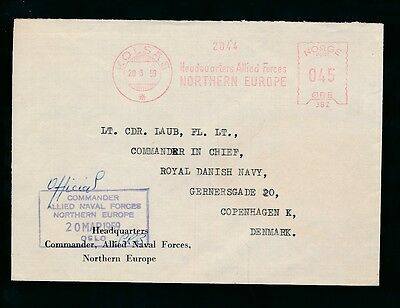 NORWAY OFFICIAL NAVAL FORCES METER CANCEL 1959 COMMANDER BOXED KOLSAS to DENMARK