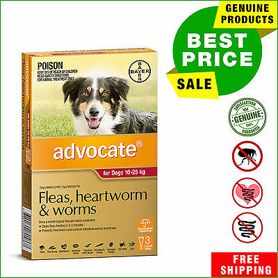 Advocate Red Pack for Dogs 10 to 25 Kg 3 Pipettes Flea Heartwom Worm treatment