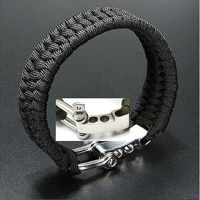 New Black ParaCord Rope Outdoor Survival Bracelet Camping Steel Shackle Buckle