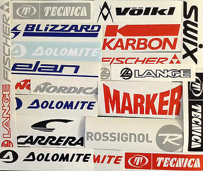 Snow Ski Stickers Pack real skiing decals like K2 Volkl Head Rossi Nordica Elan