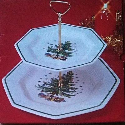Nikko Christmastime Two 2 Tier Serving Tray Tidbit/dessert Tray Mint In Box