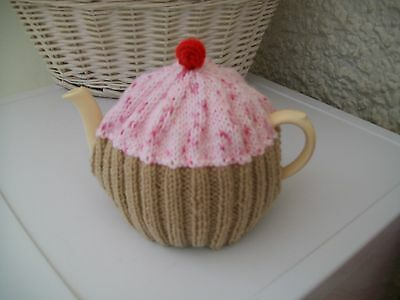 Hand knitted Cupcake  tea cosy medium teapot (Pink  with  sprinklies)