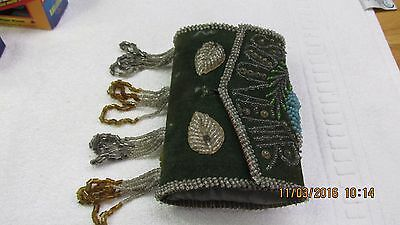 VIntage Native American Iroquois BEADS Purse Indian Souvenir Bag RED CROSS PINS