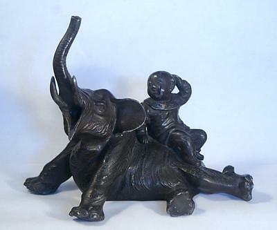 Antique Chinese 19Th Century Metal Elephant  & Boy Figure Signed