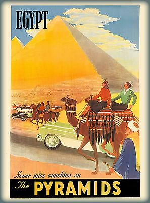 Egypt Pyramids Cairo Sunshine Vintage Egyptian Travel Advertisement Art Poster
