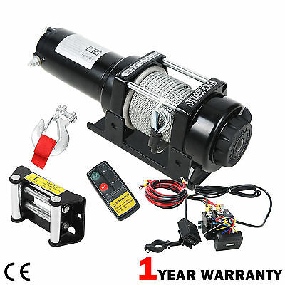 12V Electric Recovery Winch 3500 lb With Wireless Remote Control ATV Heavy Duty