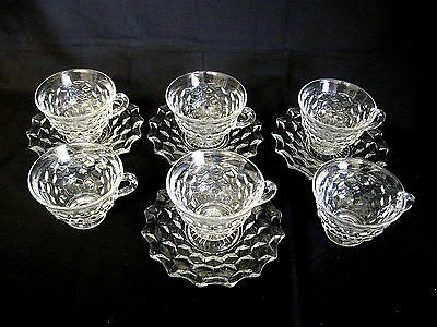 Fostoria American 6 Footed Cups & 4 Saucers Excellent Condition