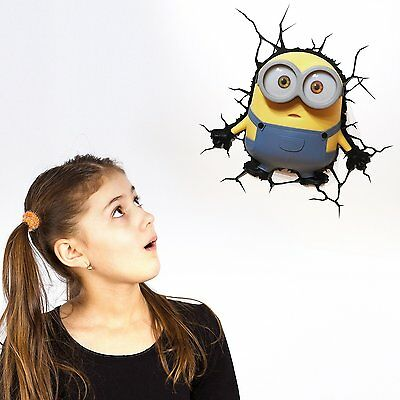 Despicable Me Minions Bob 3D Deco Led Wall Light + Crack Sticker Bedroom
