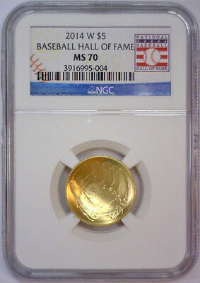 2014 W $5 Gold Baseball Hall of Fame Commemorative w/Card  NGC MS70 MS 70   #004