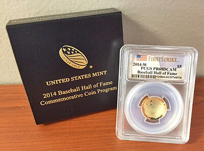 2014 W $5 PROOF Gold Baseball Hall of Fame Commemorative PCGS PR69 PR 69 DCAM FS