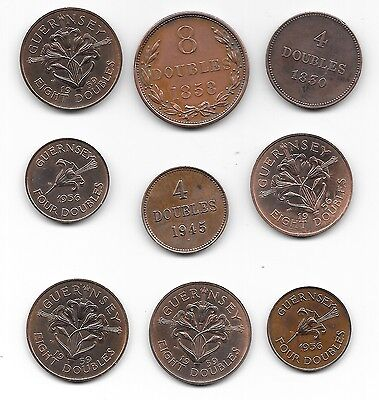 Collection of 9 early Guernsey Coins
