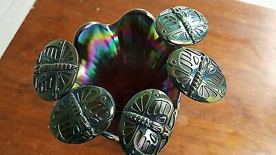 Carnival Glass Scarab or Big Butterfly Hatpins Electric Amethyst Lot of 5