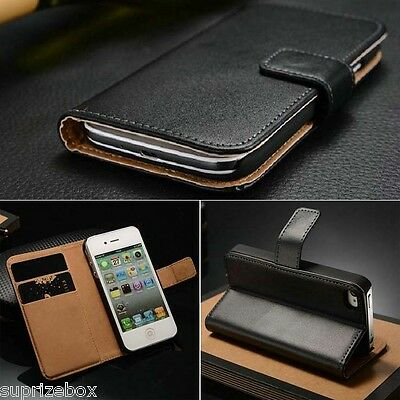 Genuine 100% Real  Leather Wallet Stand Case Cover For Iphone Se 5 & 5S