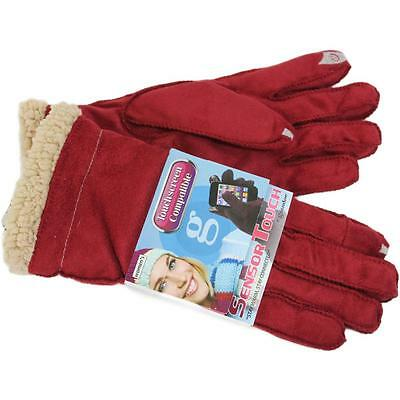 New! Grandoe Women's Red Cozy Lamb Suede Sensor-Touch Texting Gloves, Large