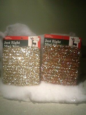 NOS Vintage Feather Tree Christmas Mini Tinsel Garland Gold Silver Multi Color 2