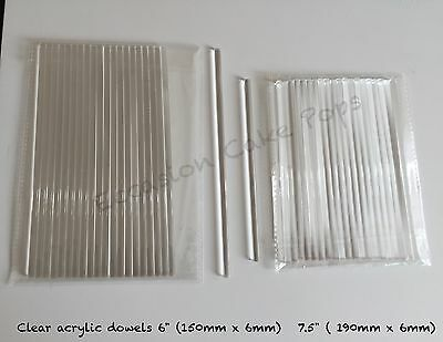 """PACK OF 20 CLEAR ACRYLIC CAKE DOWEL ROD Or CAKE POP STICK  6"""" QUALITY FOOD SAFE"""